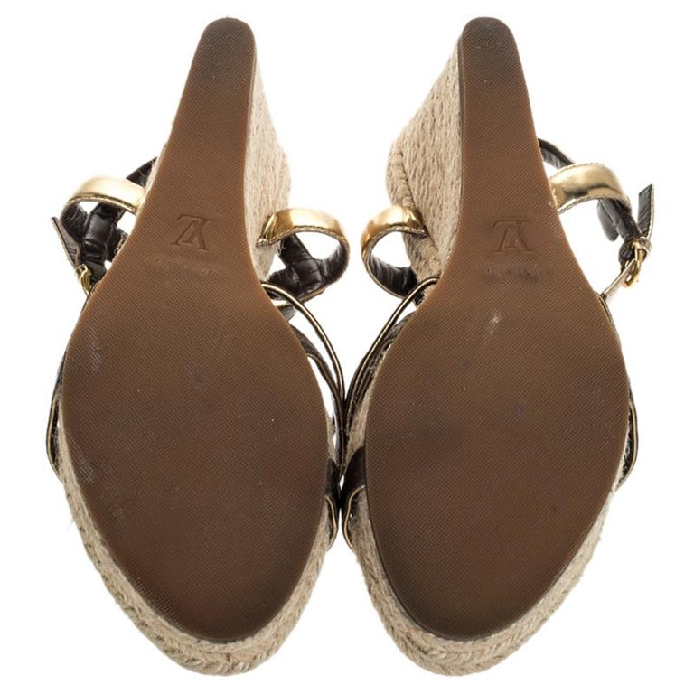 Louis Vuitton Brown Monogram Canvas And Gold Leather Espadrille Wedges Size 41 For Sale 1