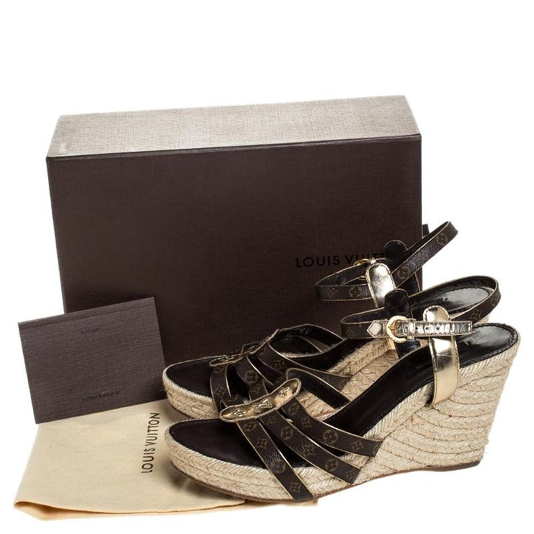 Louis Vuitton Brown Monogram Canvas And Gold Leather Espadrille Wedges Size 41 For Sale 2