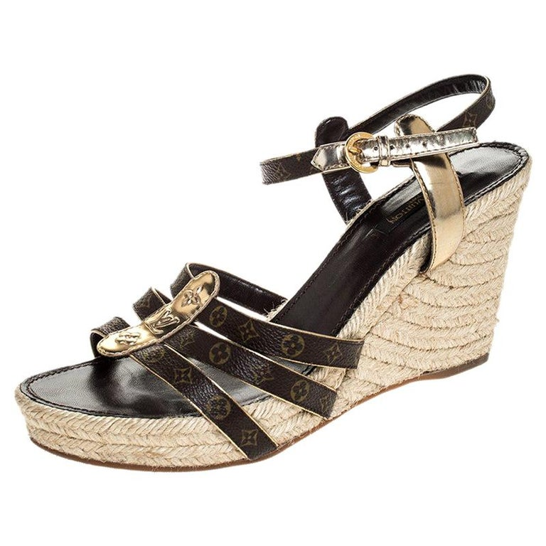 Louis Vuitton Brown Monogram Canvas And Gold Leather Espadrille Wedges Size 41 For Sale