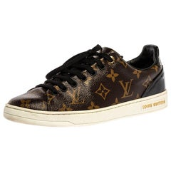 Louis Vuitton Brown Monogram Canvas And Patent Leather Low Sneakers Size 37.5