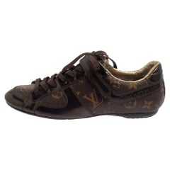 Louis Vuitton Brown Monogram Canvas And Patent Leather Low Top Sneakers Size 36