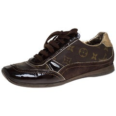 Louis Vuitton Brown Monogram Canvas and Suede Low Top Sneakers Size 38