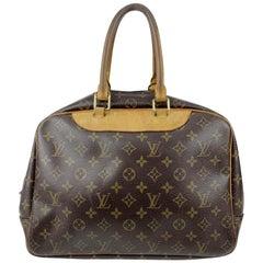 Louis Vuitton Brown Monogram Canvas Deauville Bag Satchel Handbag