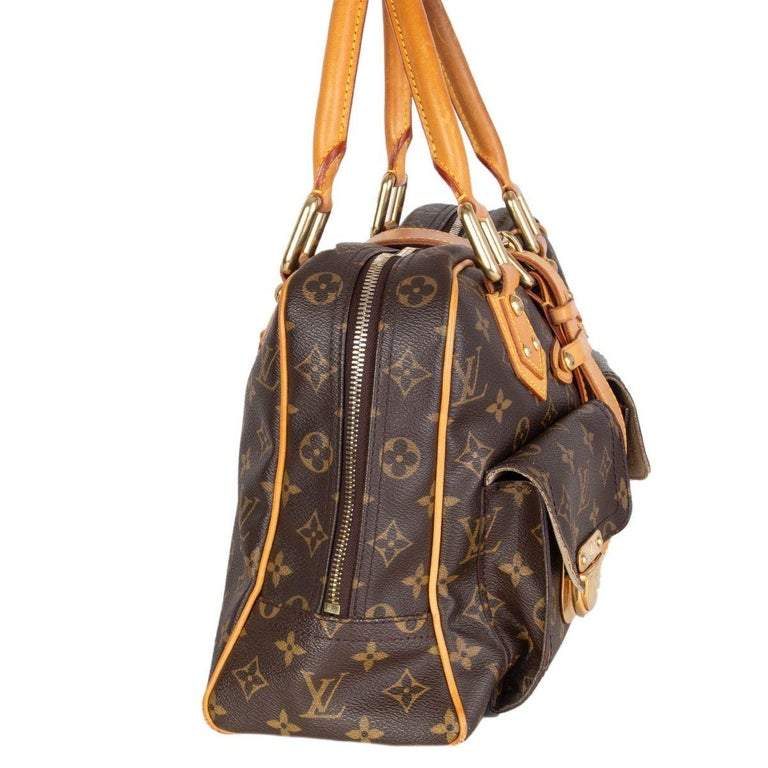 Louis Vuitton 'Manhatten GM' shoulder bag in brown and olive monogram canvas and leather trimming featuring two gusseted pockets with push-lock closures. Opens with a double zipper on top and is lined in beige microfibre with one open pocket against