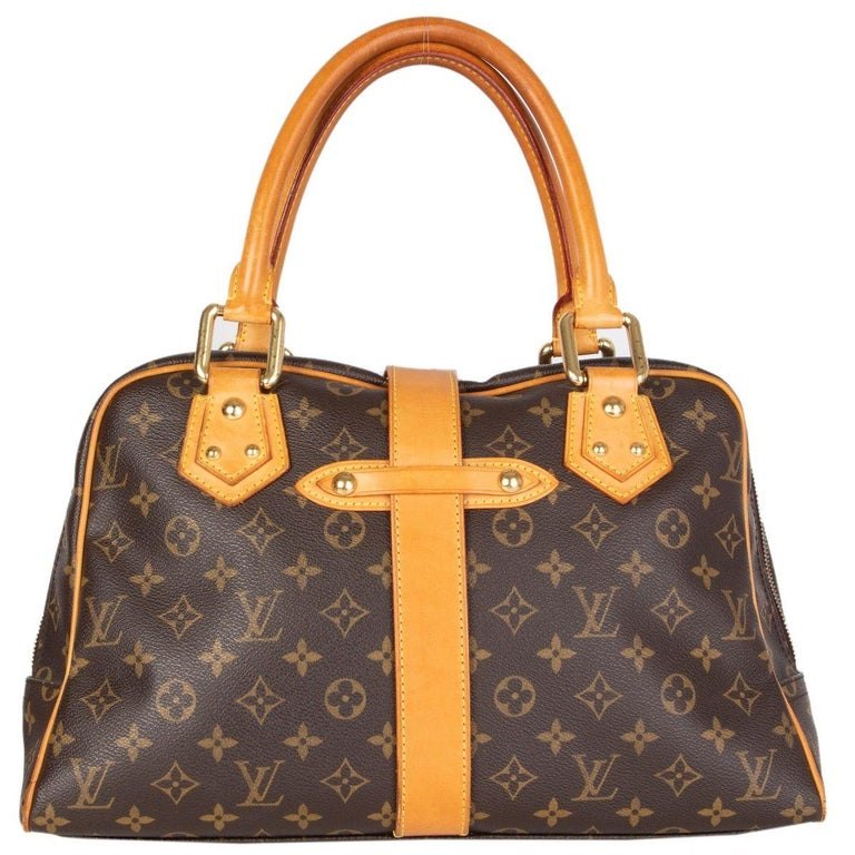 Black LOUIS VUITTON brown Monogram canvas MANHATTAN GM Shoulder Bag