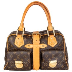 LOUIS VUITTON brown Monogram canvas MANHATTAN GM Shoulder Bag