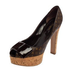 Louis Vuitton Brown Monogram Canvas & Patent Leather Rivoli  Pump Size 39.5