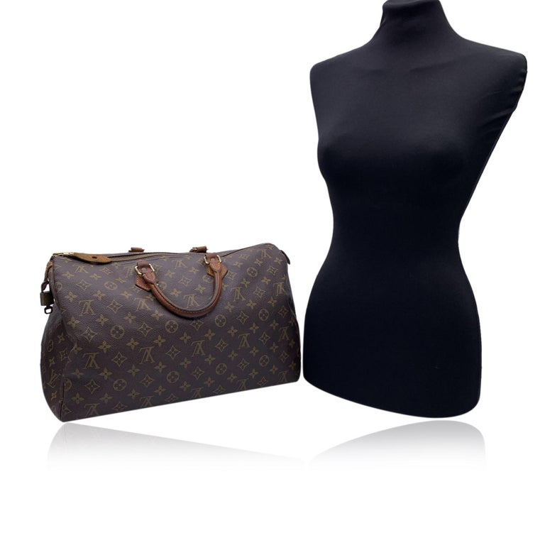Louis Vuitton Brown Monogram Canvas Speedy 40 Bag Satchel In Good Condition For Sale In Rome, Rome