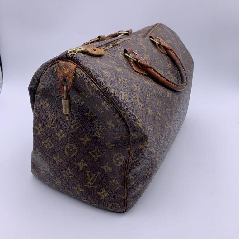 Women's Louis Vuitton Brown Monogram Canvas Speedy 40 Bag Satchel For Sale