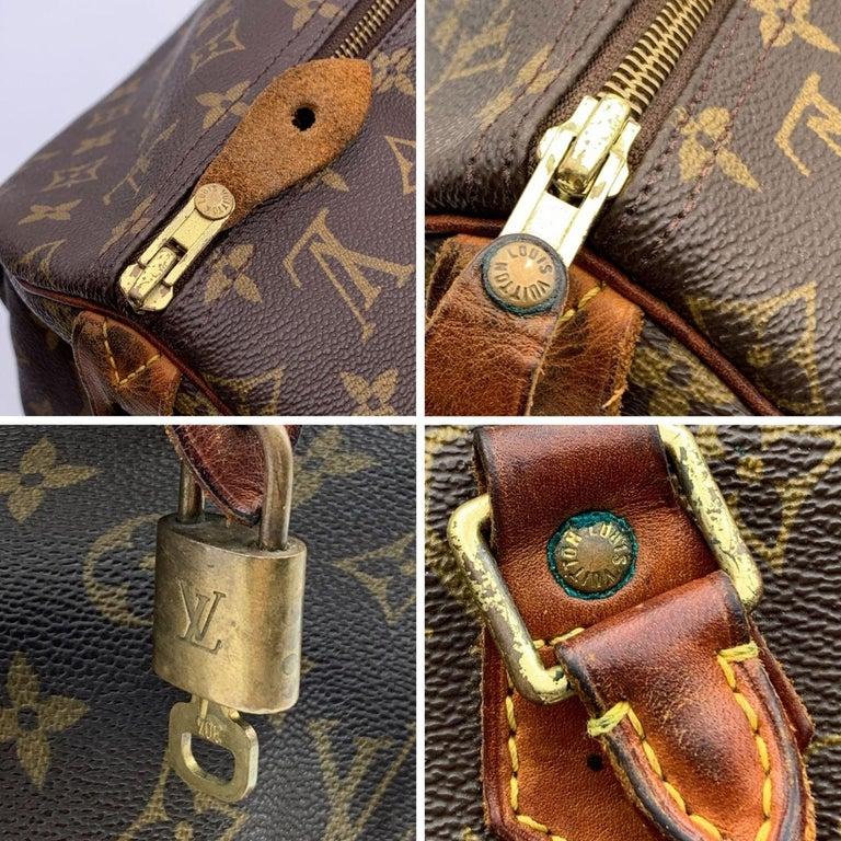 Louis Vuitton Brown Monogram Canvas Speedy 40 Bag Satchel For Sale 1