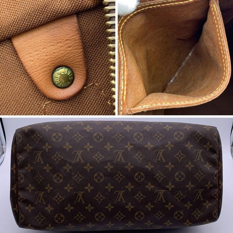 Louis Vuitton Brown Monogram Canvas Speedy 40 Bag Satchel For Sale 2