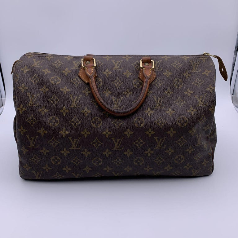 Louis Vuitton Brown Monogram Canvas Speedy 40 Bag Satchel For Sale 3