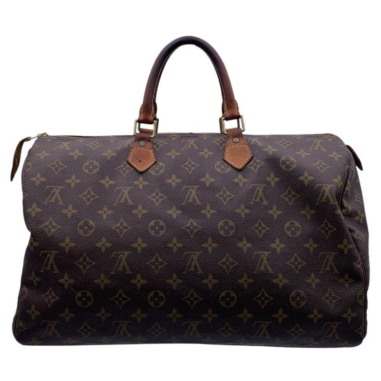 Louis Vuitton Brown Monogram Canvas Speedy 40 Bag Satchel For Sale