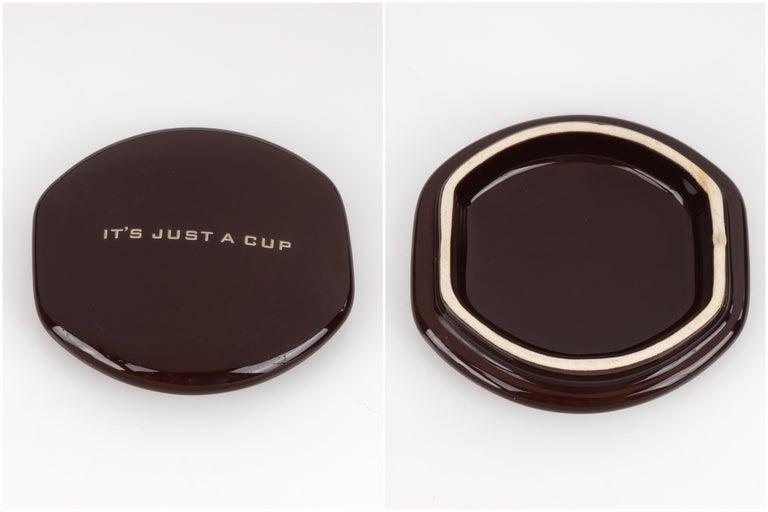 LOUIS VUITTON Brown Monogram Ceramic Coffee Tea Cup Mug RARE  6