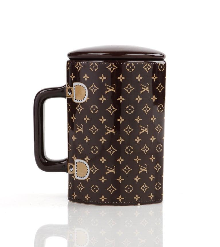LOUIS VUITTON Brown Monogram Ceramic Coffee Tea Cup Mug RARE  1
