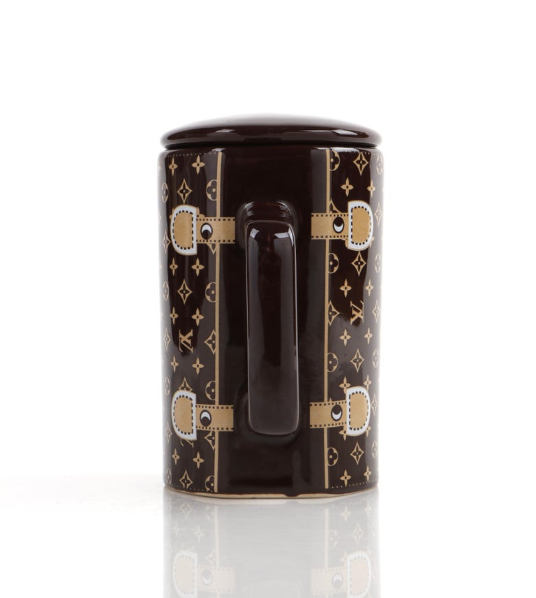 LOUIS VUITTON Brown Monogram Ceramic Coffee Tea Cup Mug RARE  2