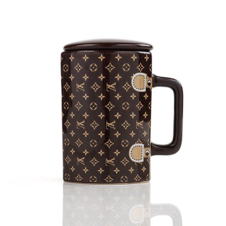 LOUIS VUITTON Brown Monogram Ceramic Coffee Tea Cup Mug RARE  3