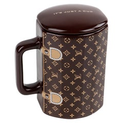 LOUIS VUITTON Brown Monogram Ceramic Coffee Tea Cup Mug RARE