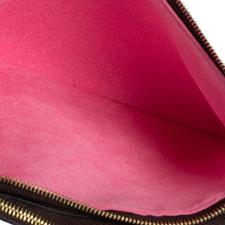 Louis Vuitton Brown Monogram Christmas Edition Double Zip Pochette For Sale 7