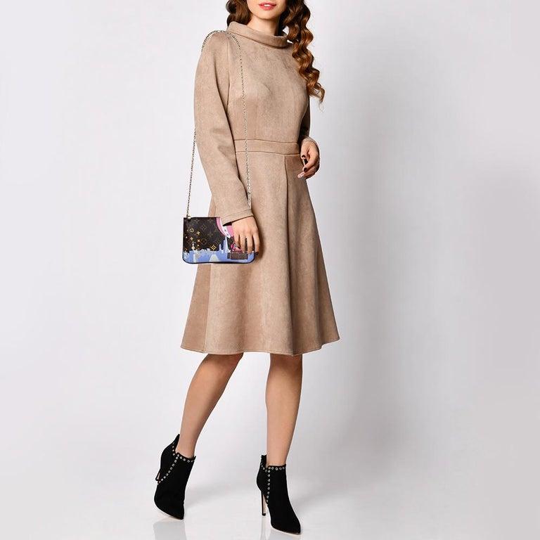 Black Louis Vuitton Brown Monogram Christmas Edition Double Zip Pochette For Sale