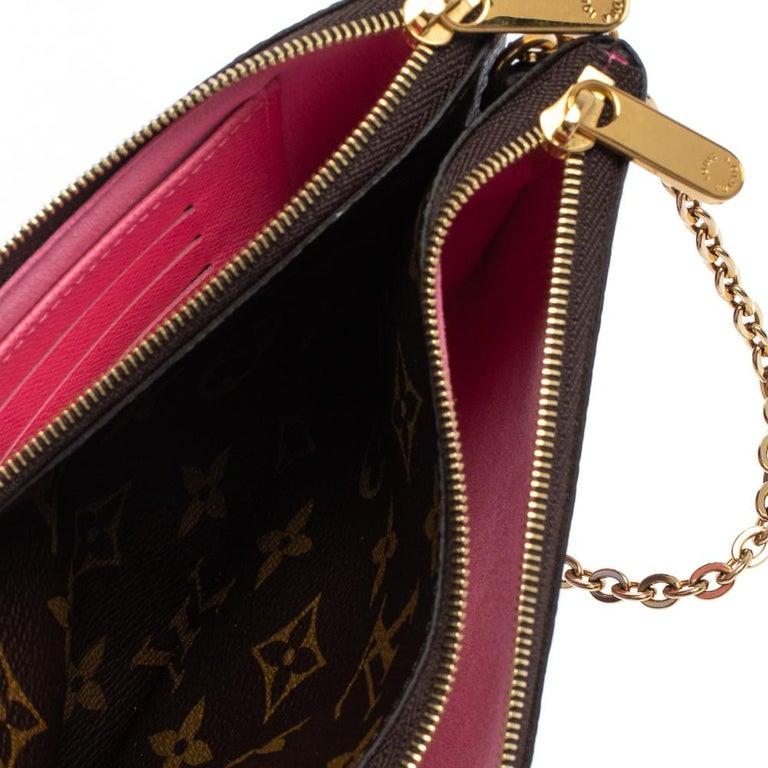 Louis Vuitton Brown Monogram Christmas Edition Double Zip Pochette For Sale 1