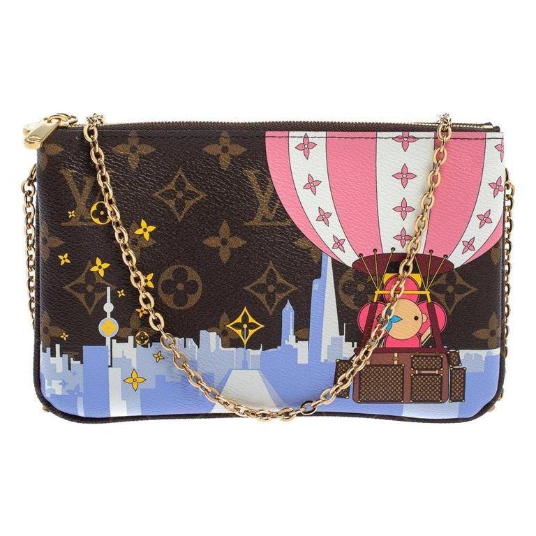 Louis Vuitton Brown Monogram Christmas Edition Double Zip Pochette For Sale