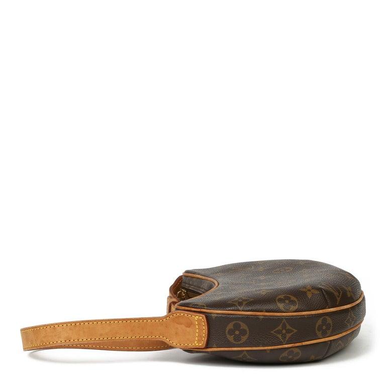 Black Louis Vuitton Brown Monogram Coated Canvas & Vachetta Leather Croissant PM