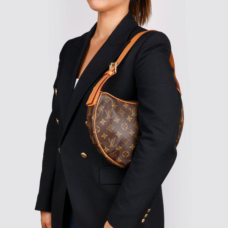 Louis Vuitton Brown Monogram Coated Canvas & Vachetta Leather Crossiant MM For Sale 8