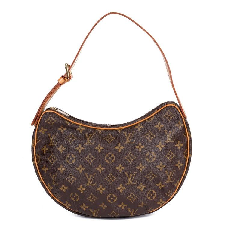 Louis Vuitton Brown Monogram Coated Canvas & Vachetta Leather Crossiant MM For Sale 1