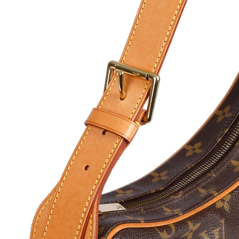 Louis Vuitton Brown Monogram Coated Canvas & Vachetta Leather Crossiant MM For Sale 3