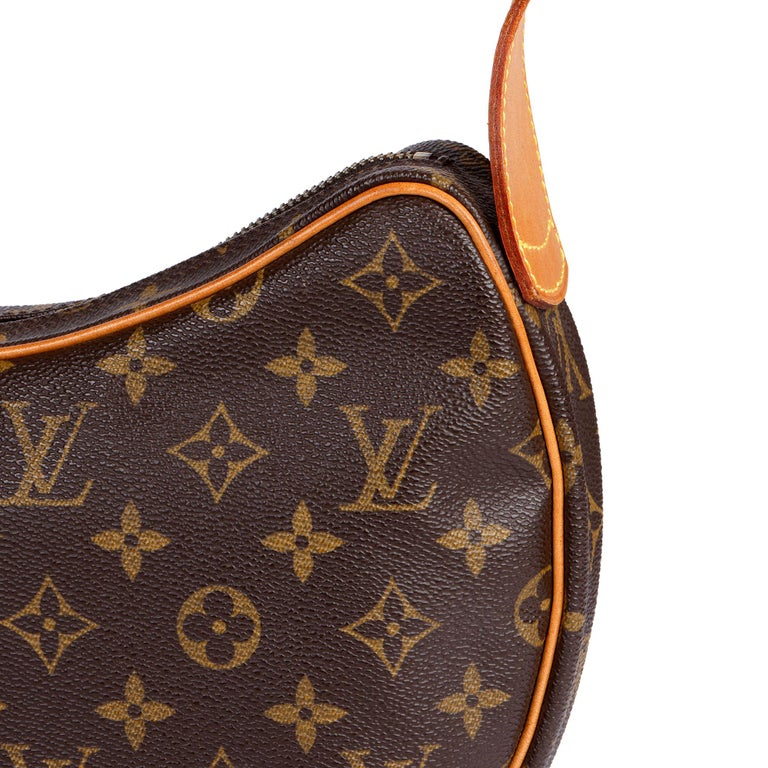 Louis Vuitton Brown Monogram Coated Canvas & Vachetta Leather Crossiant MM For Sale 4