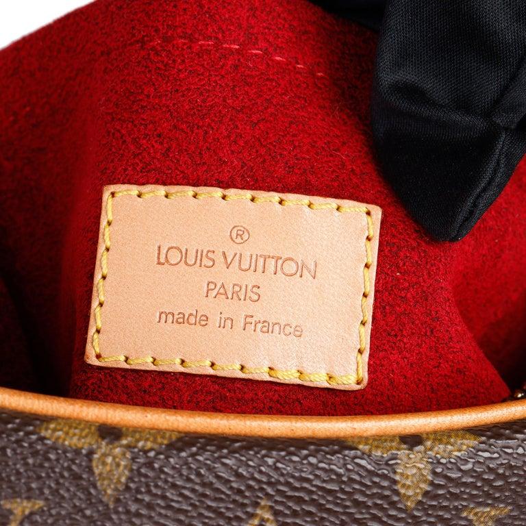 Louis Vuitton Brown Monogram Coated Canvas & Vachetta Leather Crossiant MM For Sale 5