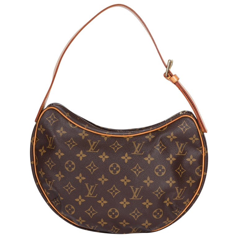 Louis Vuitton Brown Monogram Coated Canvas & Vachetta Leather Crossiant MM For Sale