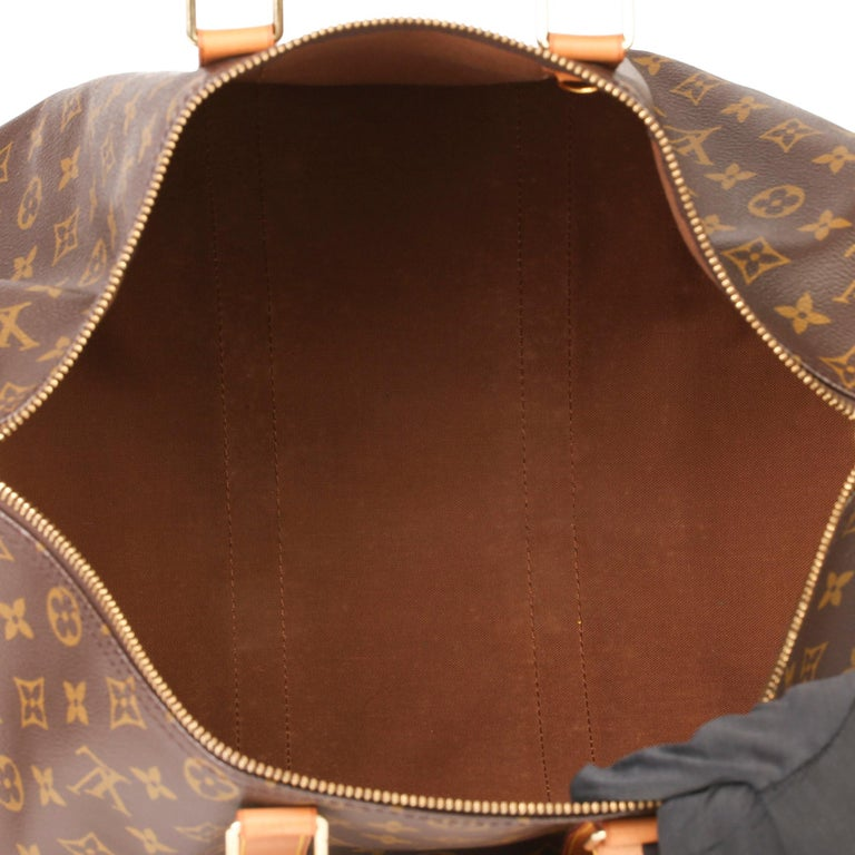 Louis Vuitton Brown Monogram Coated Canvas & Vachetta Leather Vintage Keepall 45 For Sale 6
