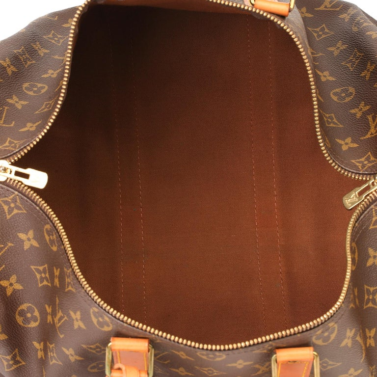 Louis Vuitton Brown Monogram Coated Canvas & Vachetta Leather Vintage Keepall 45 For Sale 7