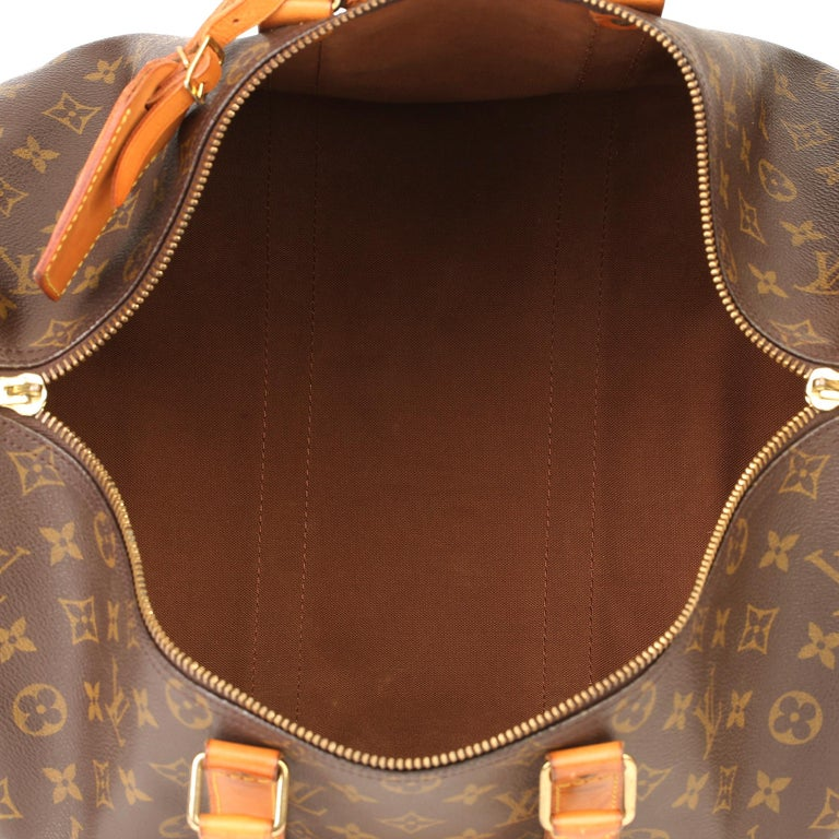 Louis Vuitton Brown Monogram Coated Canvas & Vachetta Leather Vintage Keepall 45 For Sale 8