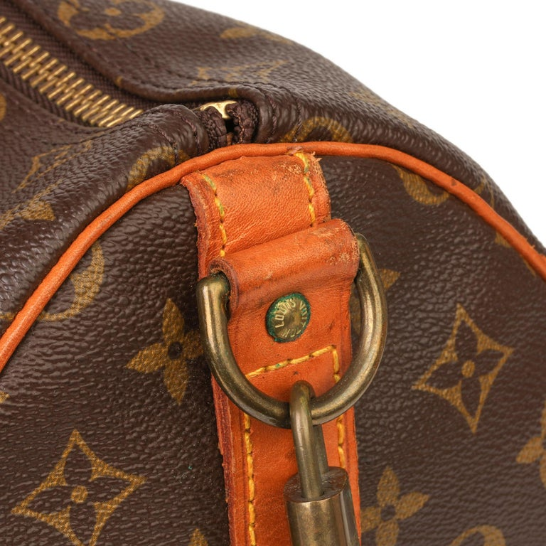 Louis Vuitton Brown Monogram Coated Canvas & Vachetta Leather Vintage Keepall 45 For Sale 9