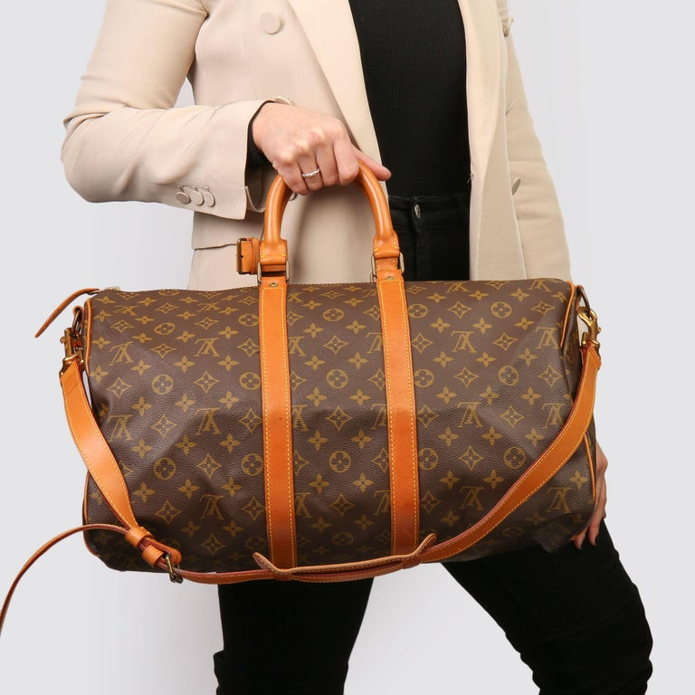 Louis Vuitton Brown Monogram Coated Canvas & Vachetta Leather Vintage Keepall 45 For Sale 10