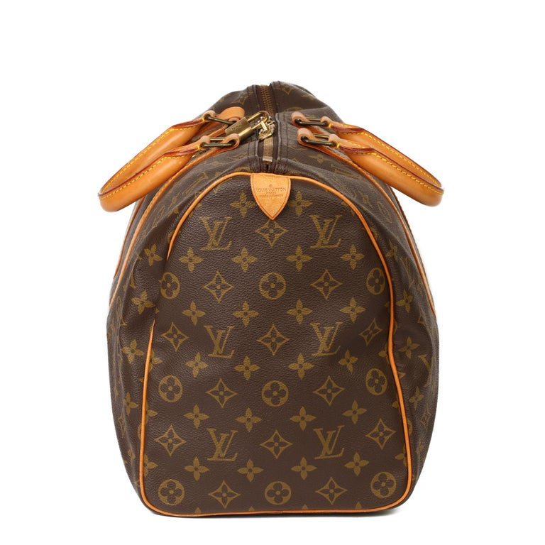 Louis Vuitton Brown Monogram Coated Canvas & Vachetta Leather Vintage Keepall 45 In Excellent Condition For Sale In Bishop's Stortford, Hertfordshire