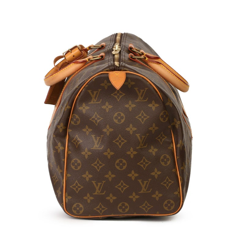 Black Louis Vuitton Brown Monogram Coated Canvas & Vachetta Leather Vintage Keepall 45 For Sale