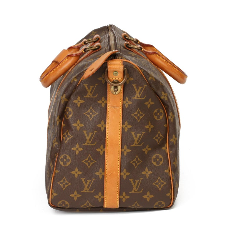 Louis Vuitton Brown Monogram Coated Canvas & Vachetta Leather Vintage Keepall 45 In Good Condition For Sale In Bishop's Stortford, Hertfordshire