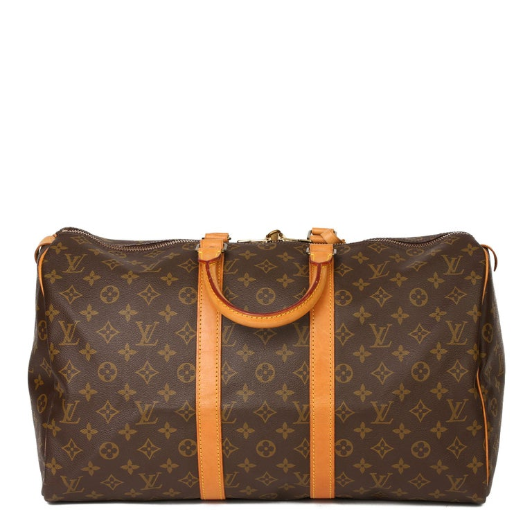 Women's or Men's Louis Vuitton Brown Monogram Coated Canvas & Vachetta Leather Vintage Keepall 45 For Sale