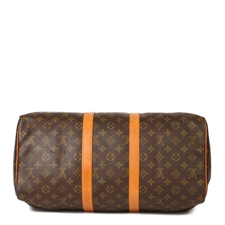 Louis Vuitton Brown Monogram Coated Canvas & Vachetta Leather Vintage Keepall 45 For Sale 1