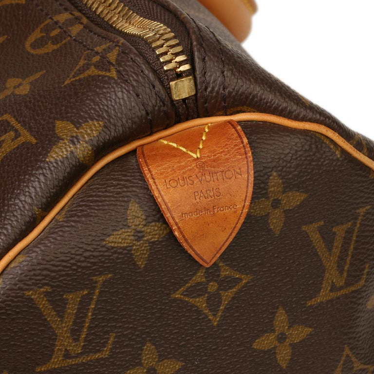 Louis Vuitton Brown Monogram Coated Canvas & Vachetta Leather Vintage Keepall 45 For Sale 2