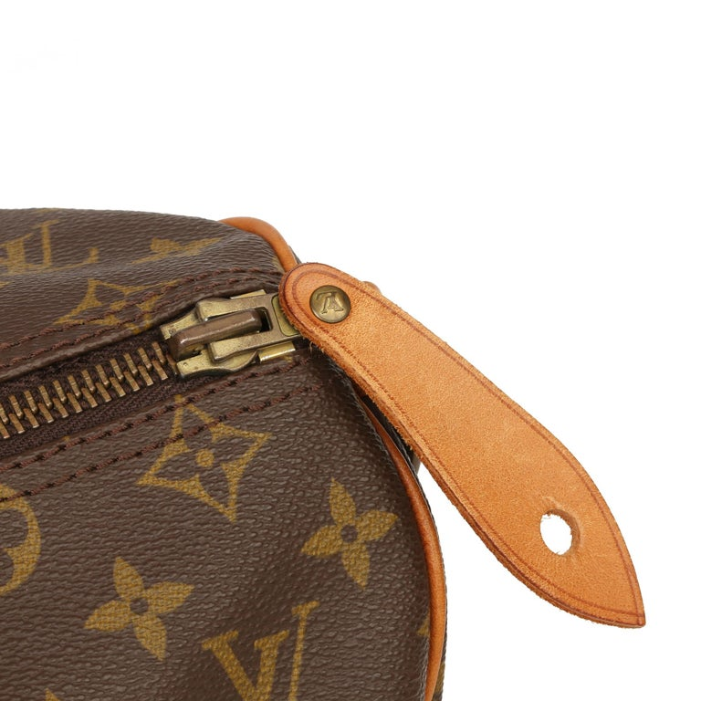 Louis Vuitton Brown Monogram Coated Canvas & Vachetta Leather Vintage Keepall 45 For Sale 3