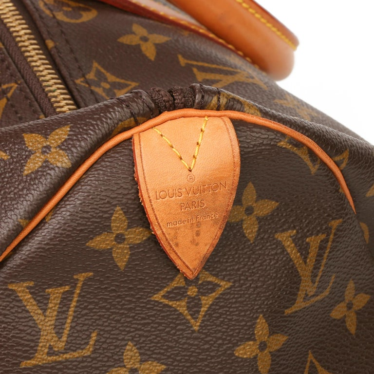 Louis Vuitton Brown Monogram Coated Canvas & Vachetta Leather Vintage Keepall 45 For Sale 4