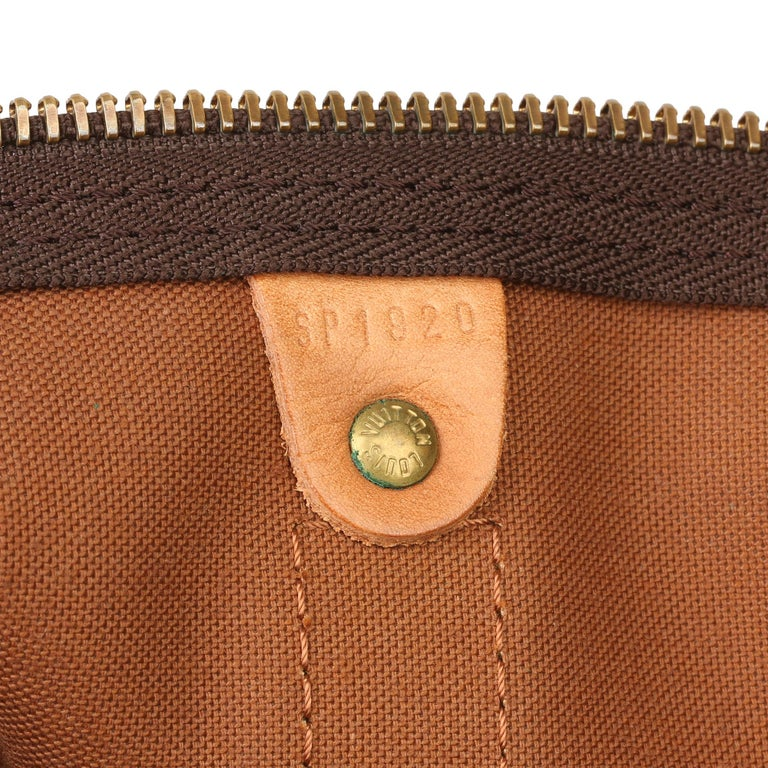 Louis Vuitton Brown Monogram Coated Canvas & Vachetta Leather Vintage Keepall 45 For Sale 5