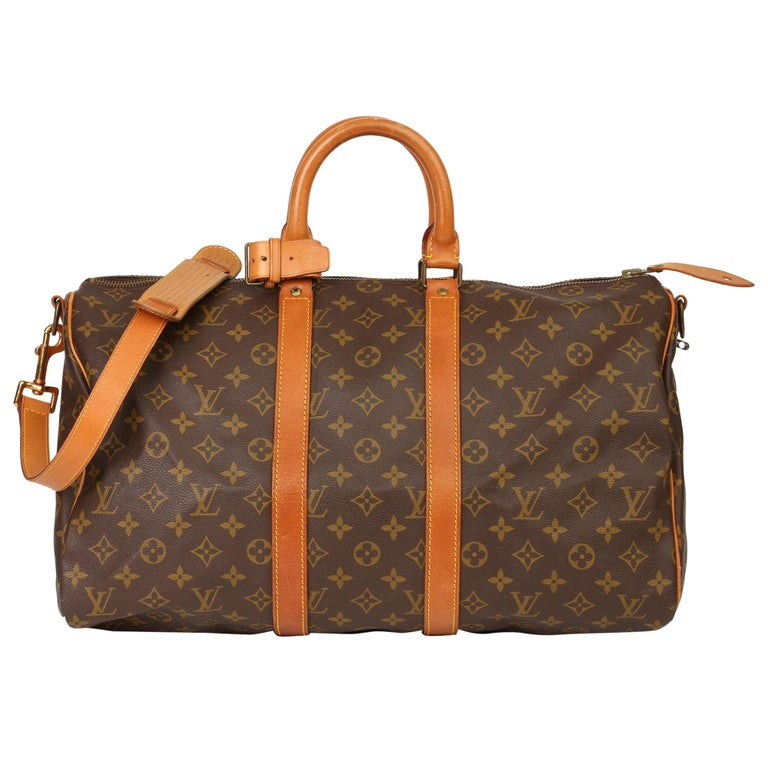 Louis Vuitton Brown Monogram Coated Canvas & Vachetta Leather Vintage Keepall 45 For Sale