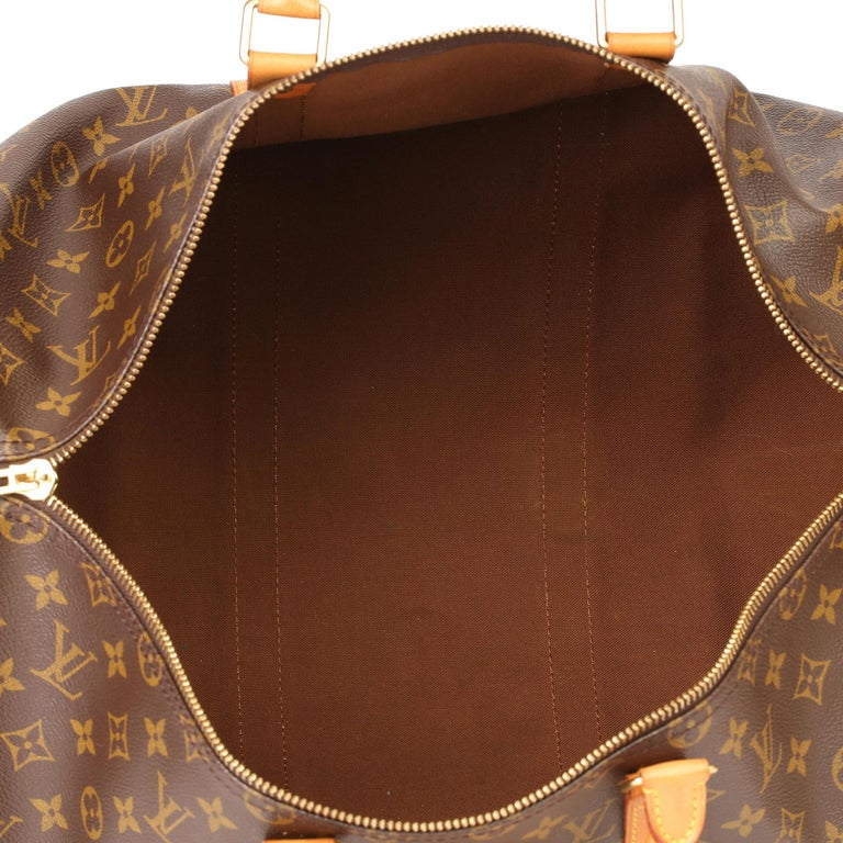 Louis Vuitton Brown Monogram Coated Canvas & Vachetta Leather Vintage Keepall 50 For Sale 6