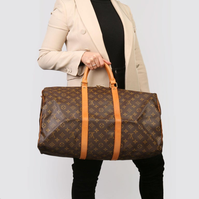 Louis Vuitton Brown Monogram Coated Canvas & Vachetta Leather Vintage Keepall 50 For Sale 7